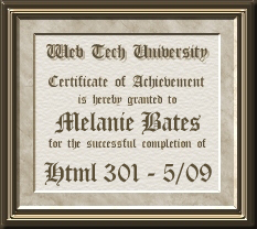Certificate for HTML301