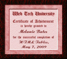 Certificate for HTML201-Tables