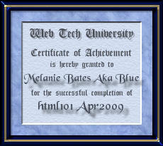 Certificate for HTML101